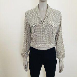 Vintage houndstooth cropped blouse Liz Claiborne